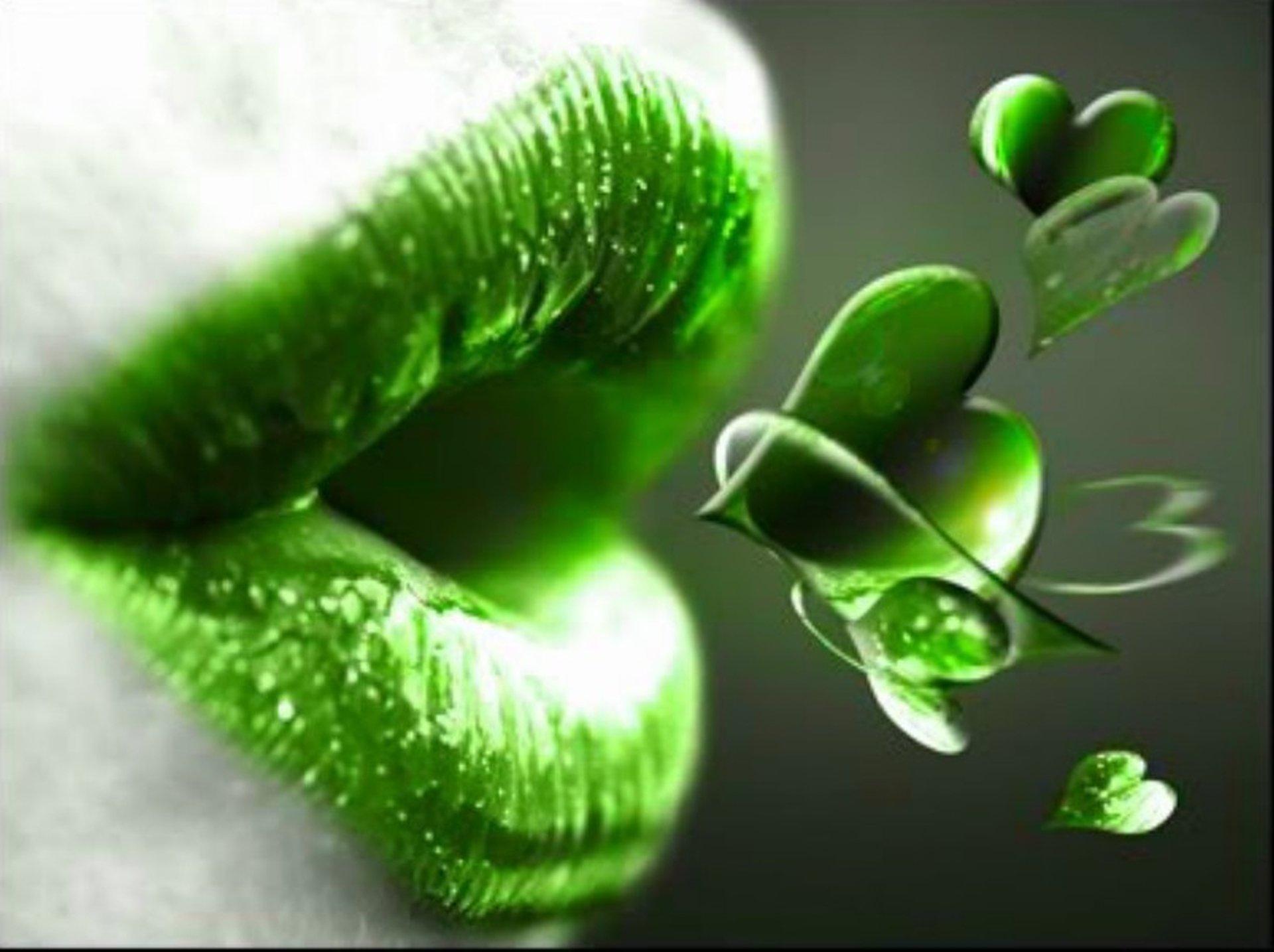 Abstract mouth lip 3d hearts green kiss wallpaper ...