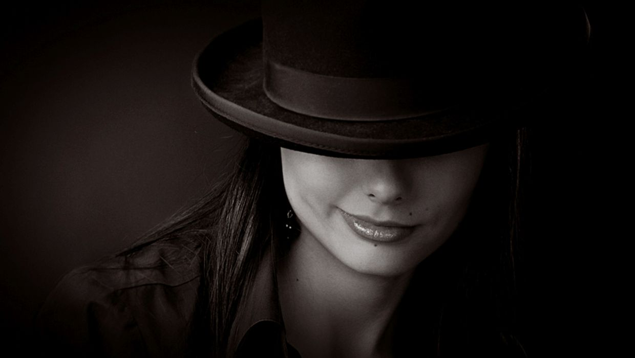 gorgeous hat fedora black and white beautiful woman photoshop tri tone photography smirk sweet brunette beuty smile wallpaper