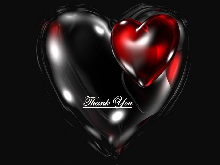 Thank You Red Heart Black Wallpaper