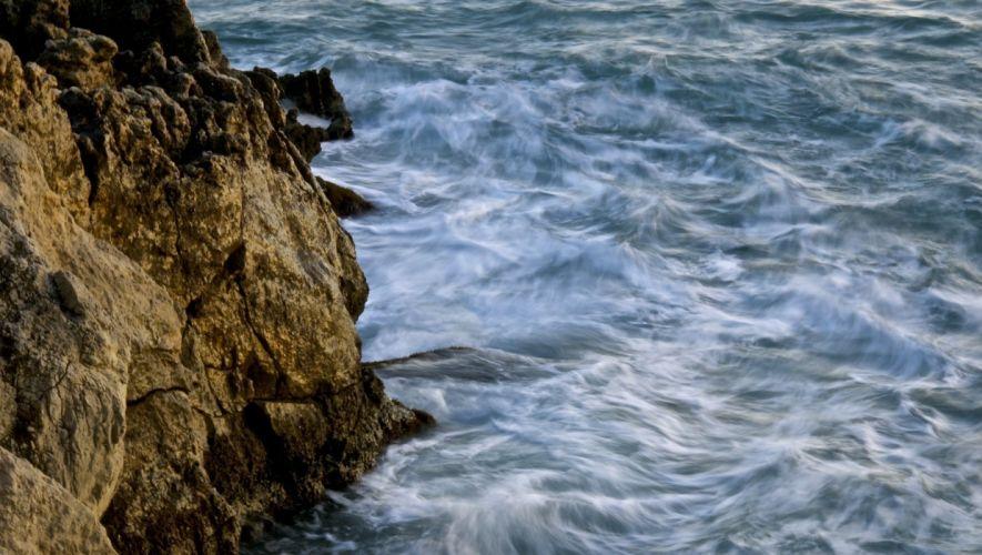 beach rocks water waves sea wallpaper