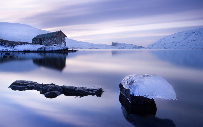 Faroe Islands sea ocean house reflection winter wallpaper