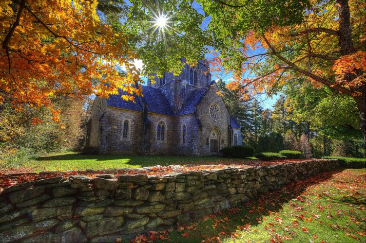 Bethlehem New Hampshire autumn trees landscape church wallpaper