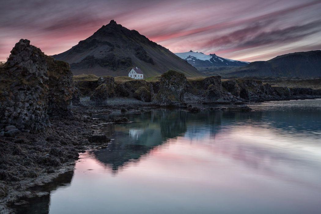 Iceland village house mountain lake reflection evening sky sunset wallpaper