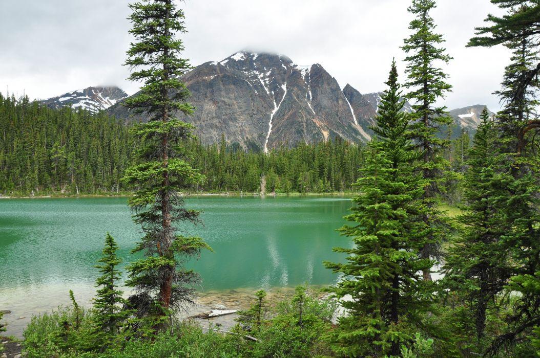 Lake Edith Cavell Jasper National Park mountain lake landscape wallpaper