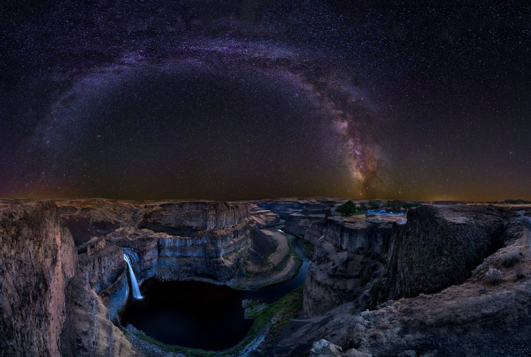river stars night Palouse Washington USA waterfall stars wallpaper