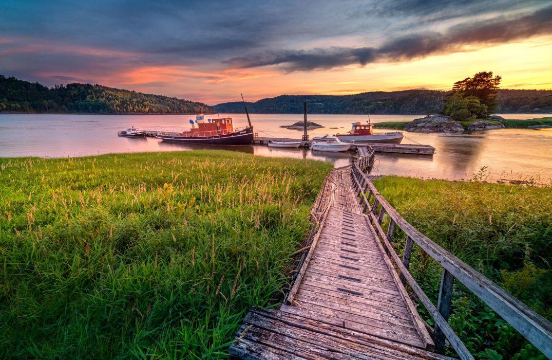 norway river sunset old bridge dock boat landscape wallpaper