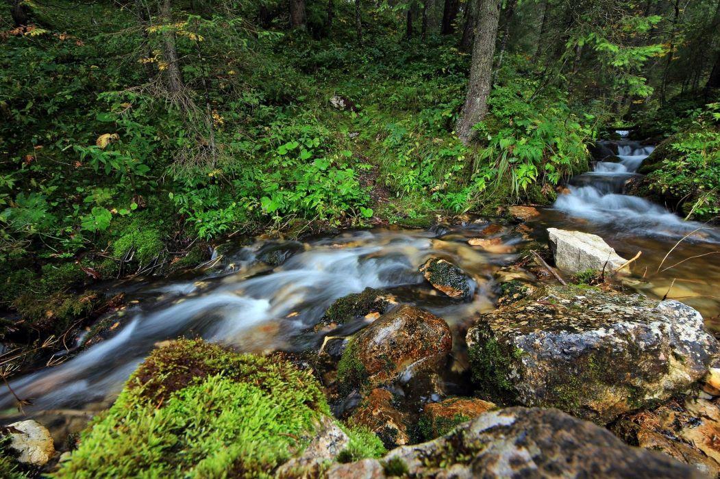 river stream trees rocks Vomp Austria Tyrol wallpaper