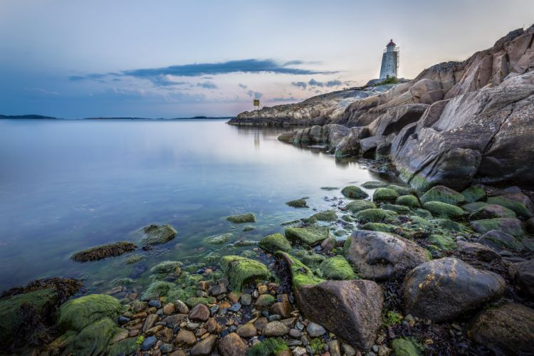 sea lighthouse rocks beach rocks landscape wallpaper