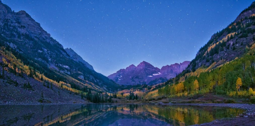 star autumn stone lake mountains reflection forest Maroon Bells Colorado Maroon lake wallpaper