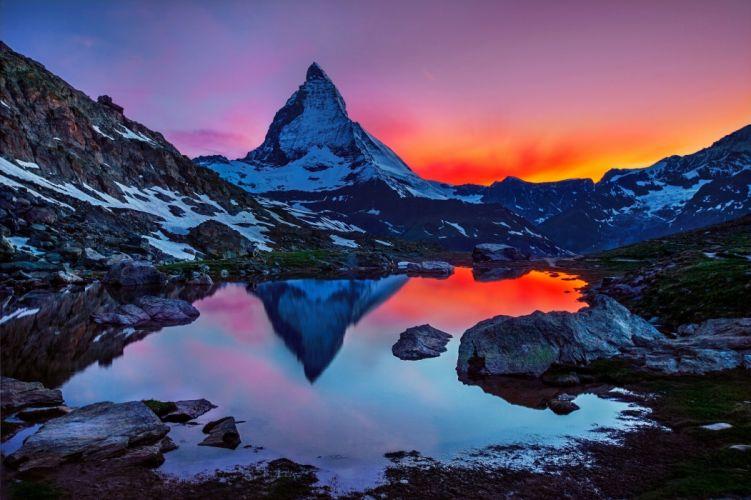sunset landscape mountain sky Matterhorn Switzerland the Alps reflection wallpaper
