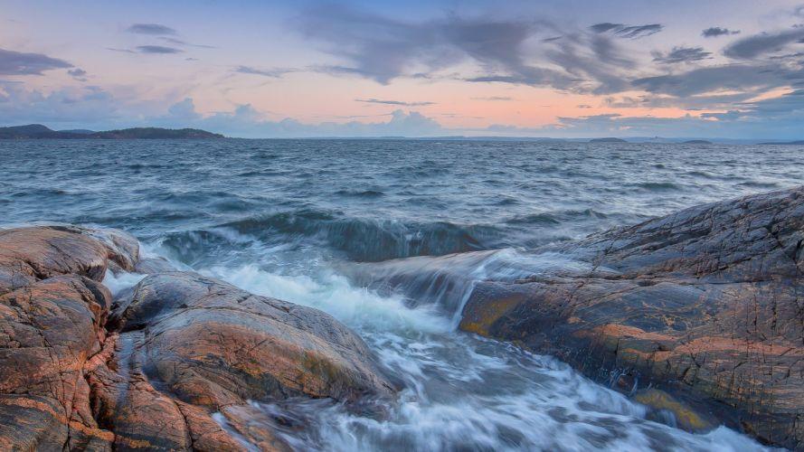 sea rocks sunset waves landscape wallpaper
