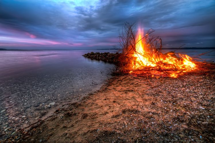 sunset river beach fire landscape wallpaper