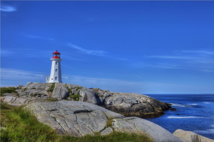 sea rocks lighthouse landscape wallpaper