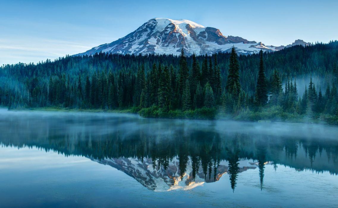 Washington USA mount ranier volcano lake reflection wallpaper