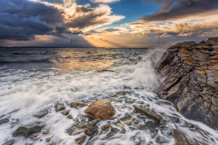 sunset rocks sea waves landscape wallpaper