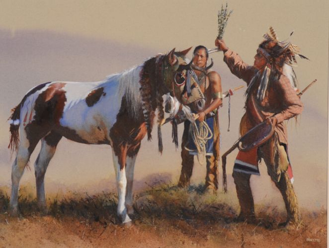 Horses Pictorial art John Fawcett Indians Animals horse western native indian wallpaper