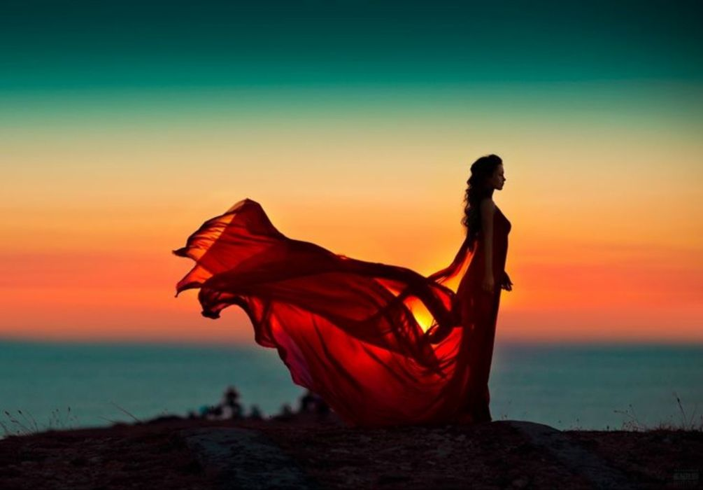 wings woman sunset fly silhouette splendor wallpaper