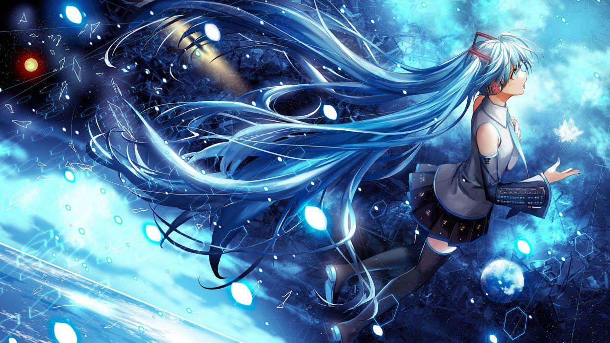 singer blue hatsune miku komecchi thighhighs vocaloid wallpaper
