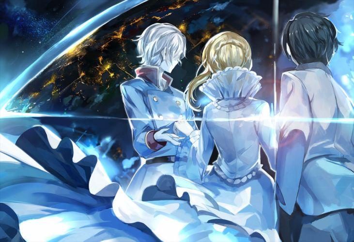 blue yellow light earth anime girl boys wallpaper