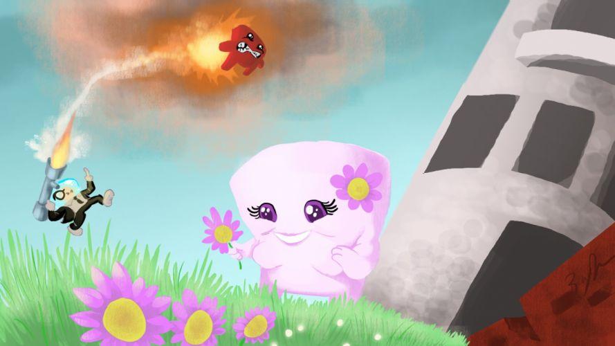 SUPER MEAT BOY platform animation cartoon humor funny nintendo (5) wallpaper