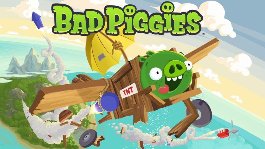 BAD PIGGIES puzzle family pig adventure physics wallpaper