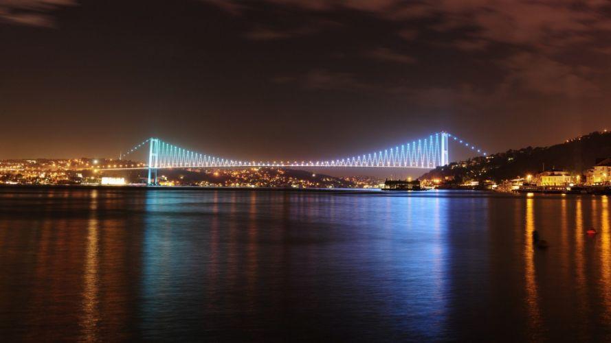 Istanbul Turkey blue mosque night fountain night light wallpaper