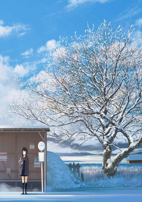 snow tree alone girl doumo landscape seifuku wallpaper
