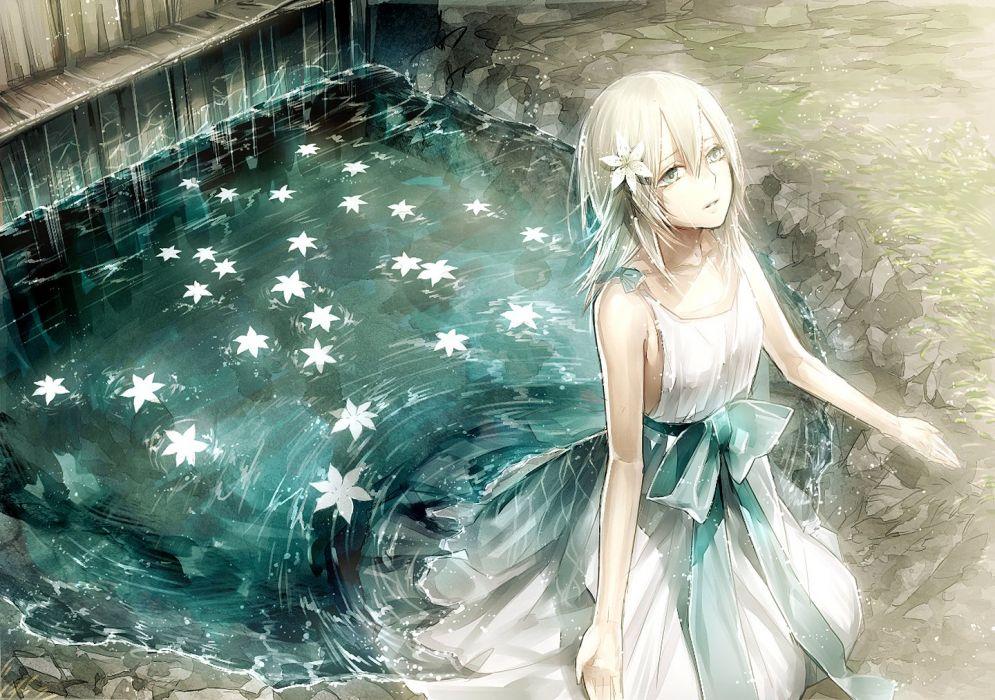 dress nier tayuya flower water girl wallpaper