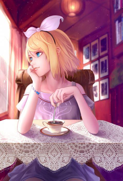 kagamine rin vocaloid wei ji anime girl blonde wallpaper