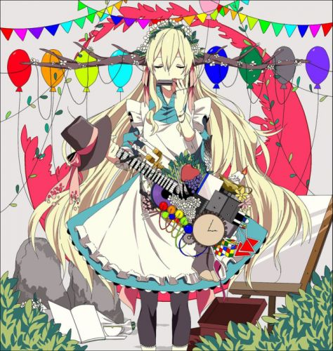 blonde anime girl party balons guitar music wallpaper