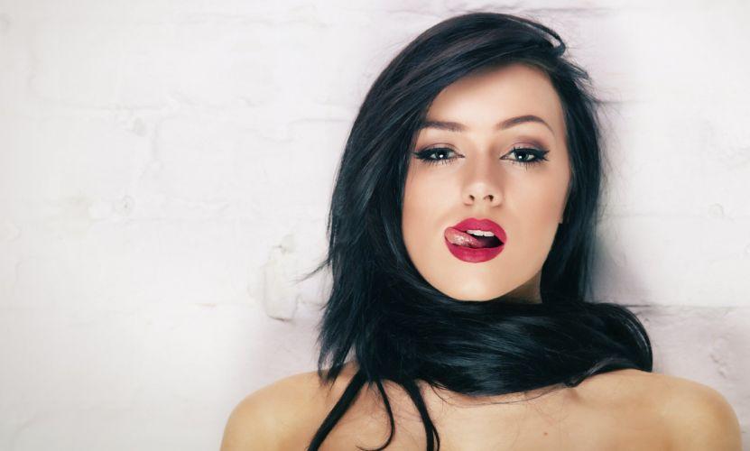 lips hair tongue girl sexy wallpaper