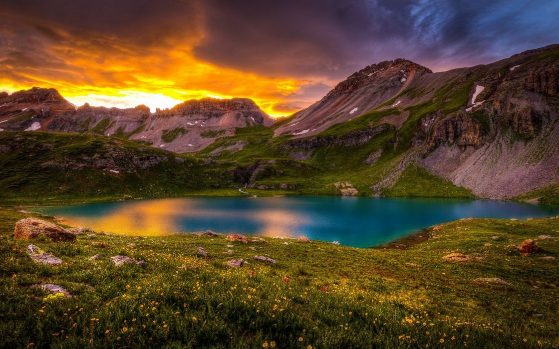 mountain nature lake flowers wallpaper