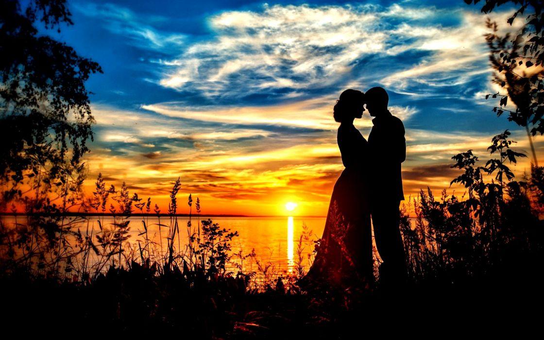 Love Romantic Romance Sky Nature Couple Sweet Wallpaper
