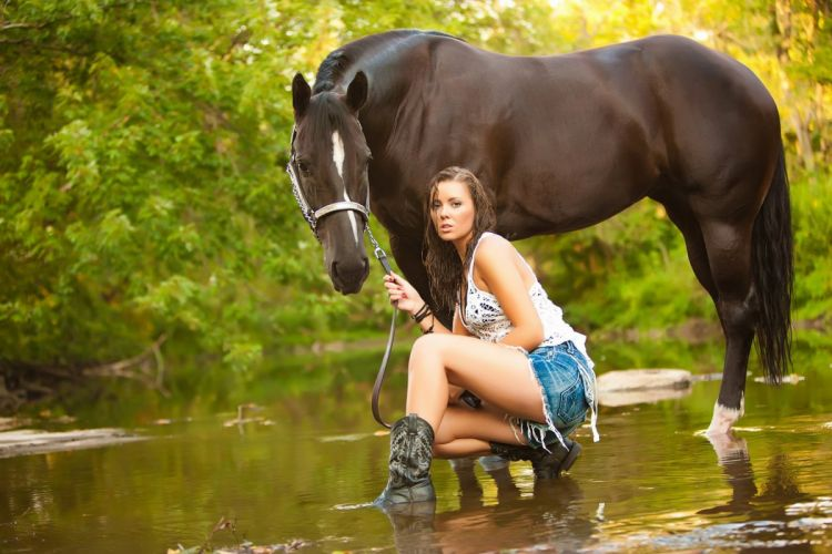 COWGIRL NATURE HORSE GREEN WATER wallpaper
