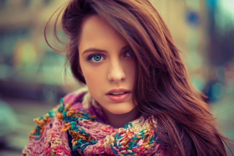 girl pretty face blue eyes hair portrait scarf wallpaper