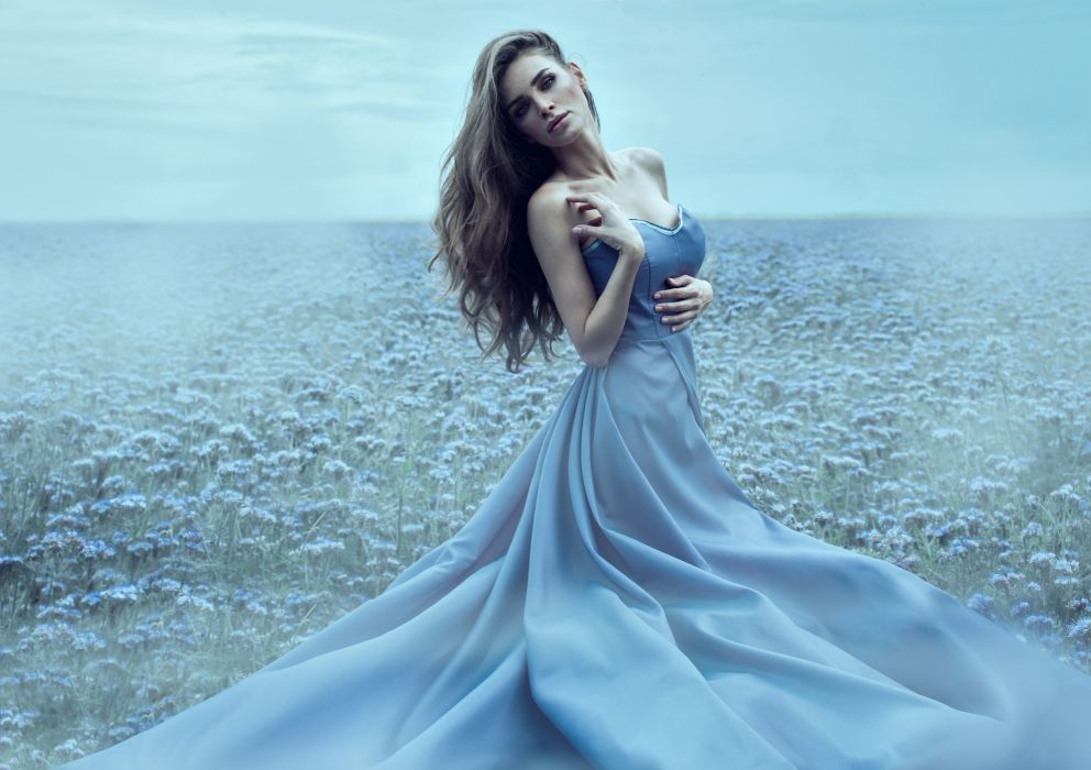 girl look dress long hair makeup nature wallpaper