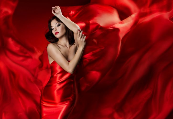 face dress woman hair eyes lips brunette female lady lovely hand red sensual lady in red red dress beautiful pretty beauty girl hands wallpaper