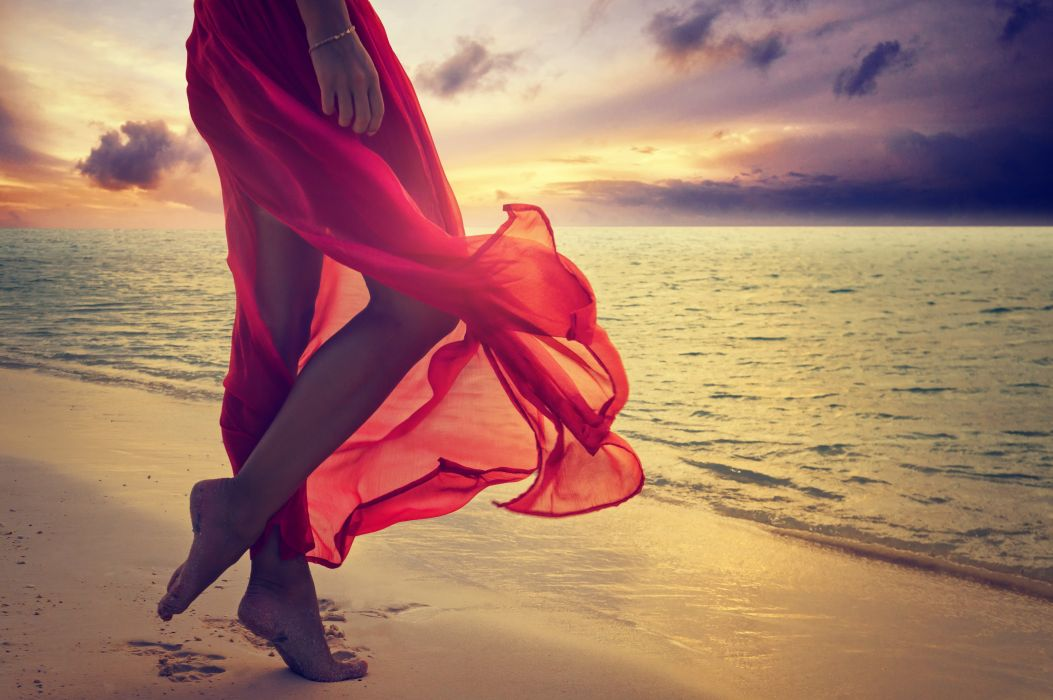 red beach feet dress sunshine sea lady woman sunset ocean wallpaper