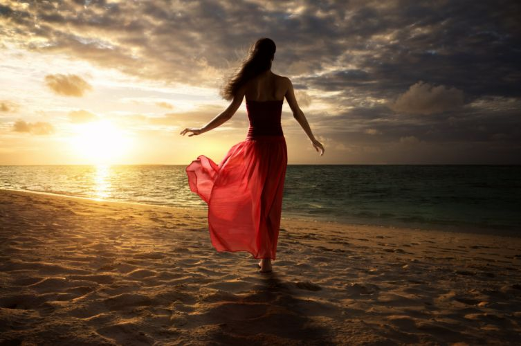 red ocean nature summer sea lady woman sunset dress wallpaper