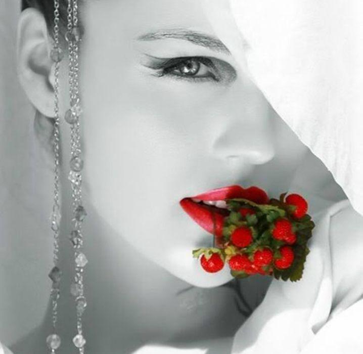 beautiful woman in red black wallpaper