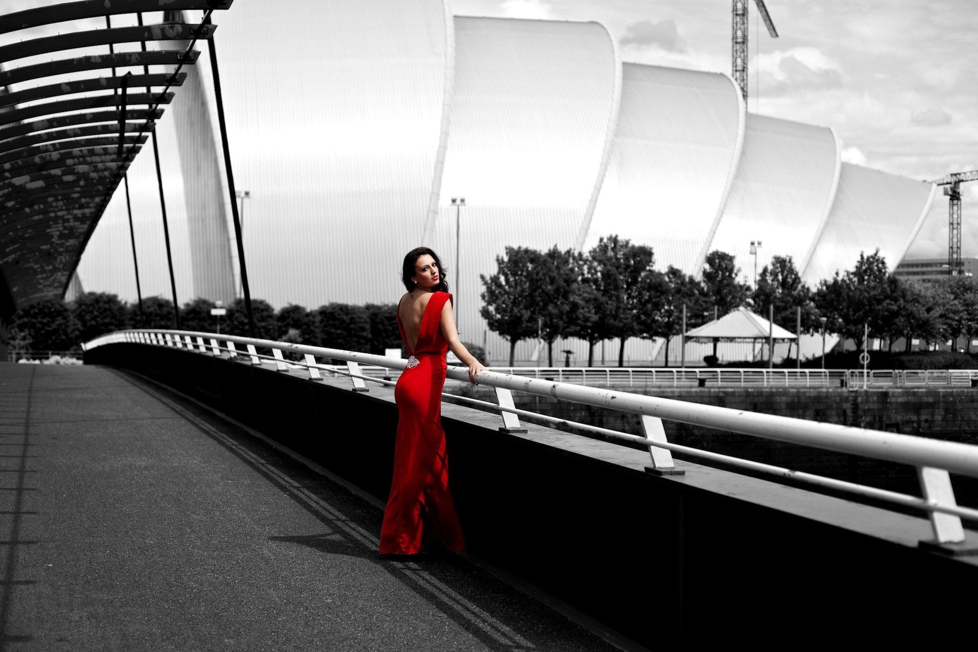 Girl Brunette Dress Red Black And White Posture Street Wallpaper