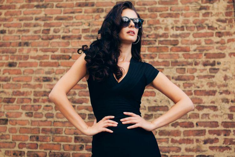 girl brunette dress glasses black wallpaper