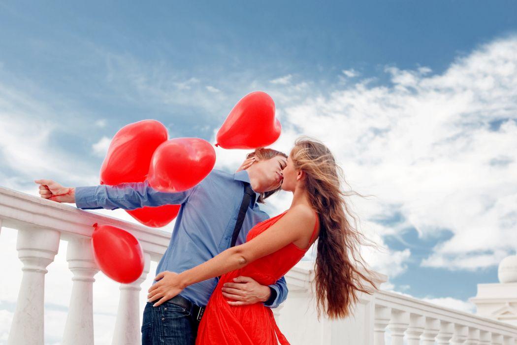 Girl guy love couple hug kiss love romance affection dress red balloons hearts wallpaper