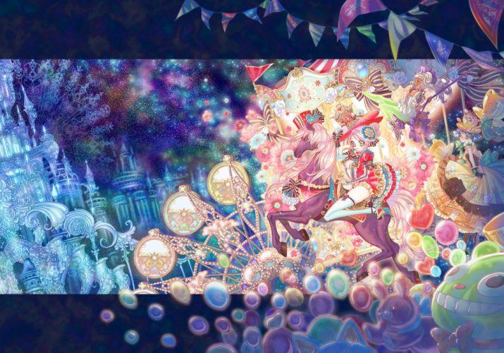 street fair balloons magic city horses girls color wallpaper
