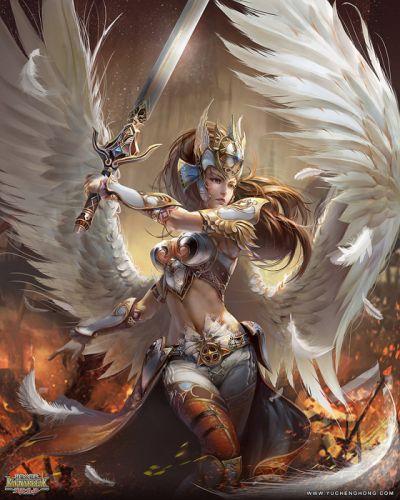 winged Warrior girl game angel fire war wallpaper