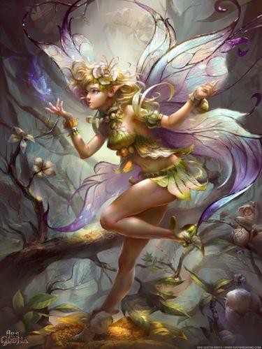fairy fantasy forest tree flower girl wings wallpaper