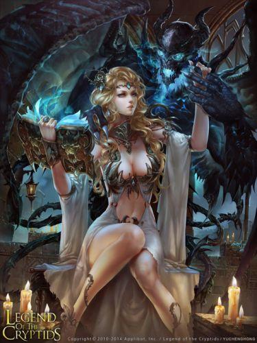 Devil woman dark blue fantasy girl game wallpaper