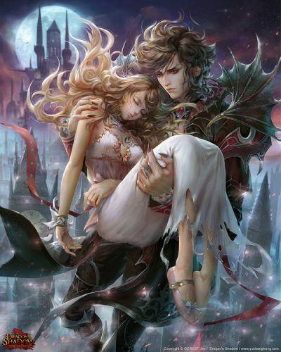 love couple angel devil beautiful girl boy game wallpaper