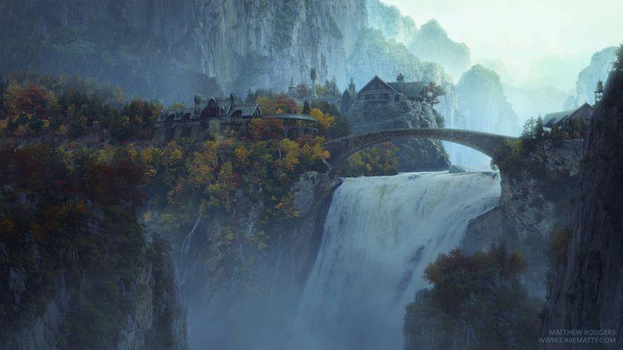 landscape forest tree waterfall bridge fantastic wallpaper