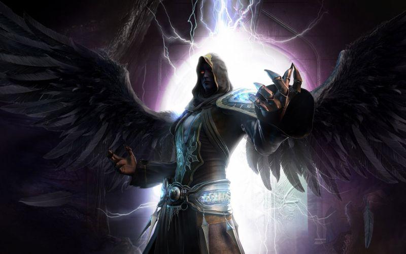 Dark - Angel evil wings devil lightning wallpaper